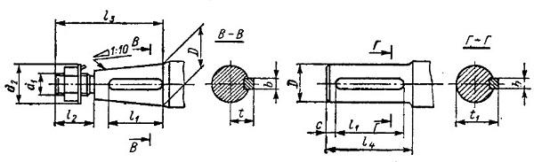 Размеры цилиндрического и конического вала мотор-редуктора МРА-3