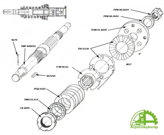 Вал привода навозоразбрасывателя РОУ-6 РОМ 01.1320-01