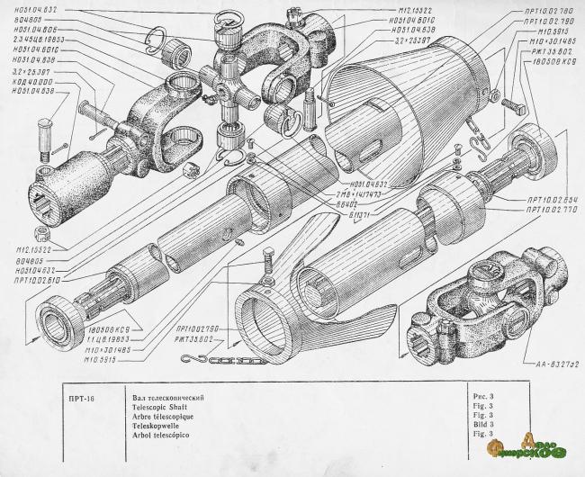Вал телескопический (карданный) ПРТ-10