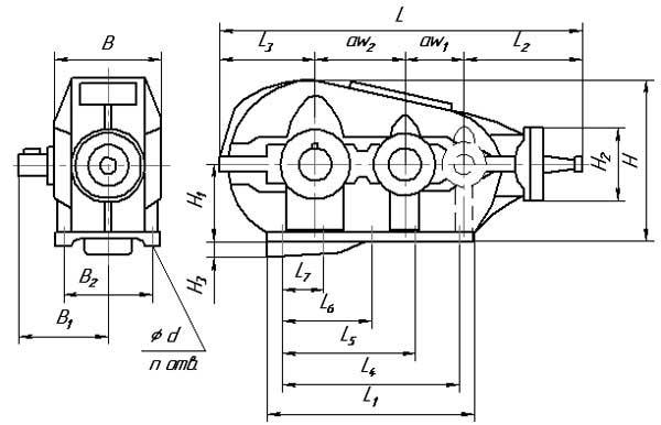 Габаритные и присоединительные размеры редукторов КЦ1-200