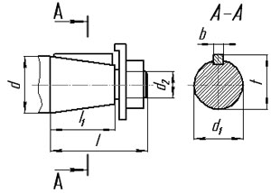 Размеры входного вала редукторов КЦ1-250