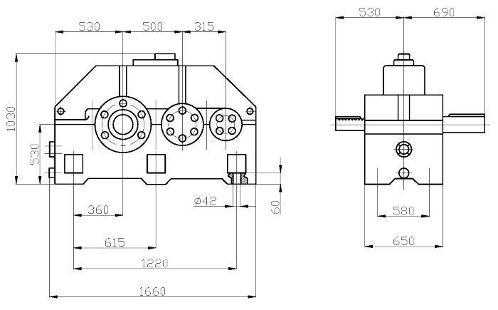 Габаритные и присоединительные размеры редуктора 1Ц2У-500