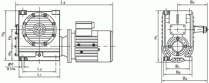 Мотор-редуктор МЧ, мотор-редуктор МЧ-100: габаритные и присоединительные размеры