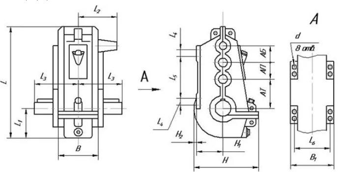 Габаритные и присоединительные размеры редуктора ВКУ 500. Купить редукторы ВКУ-500 высокого качества
