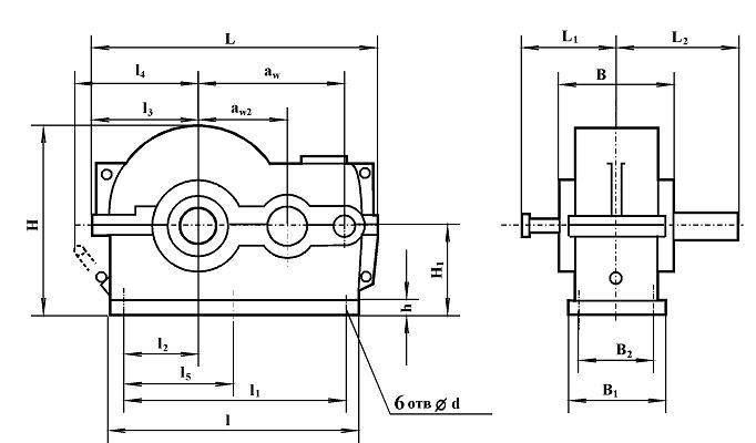 Редуктор РЦД-350: габаритные и присоеди нительные размеры