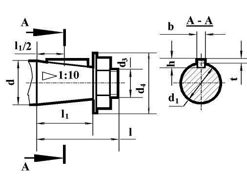 Редуктор РЦД-350: размеры концов входного вала