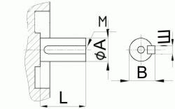 Редуктор червячный одноступенчатый универсальный, тип 2Ч и 2ЧМ. 2Ч-80 и 2ЧМ-80. Присоединительные размеры цилиндрического коца выходного вала.