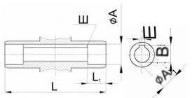 Редуктор червячный одноступенчатый универсальный, тип 2Ч и 2ЧМ. 2Ч-80 и 2ЧМ-80. Присоединительные размеры полого вала со шпоночным пазом. Выходного.