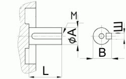Редуктор червячный одноступенчатый универсальный, тип Ч. Ч-125. Присоединительные размеры цилиндрического коца выходного вала.