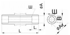 Редуктор червячный одноступенчатый универсальный, тип Ч. Ч-125. Присоединительные размеры полого вала со шпоночным пазом. Выходного.