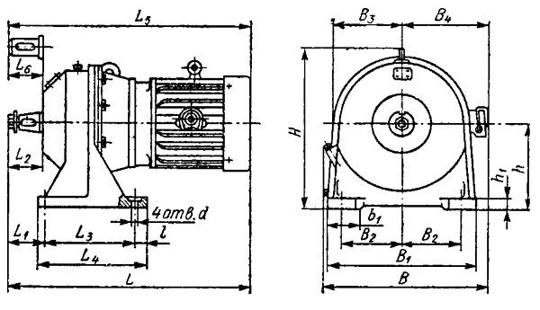 Габаритные, присоединительные и установочные размеры планетарного мотор-редуктора МРА-3