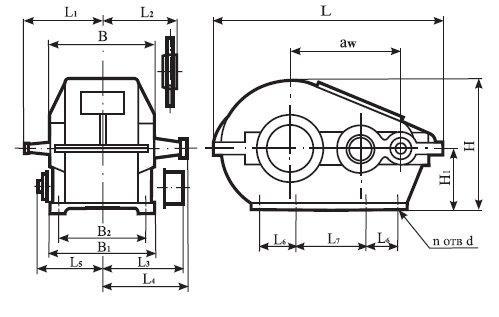 Редуктор Ц2-350: габаритные и присоединительные размеры