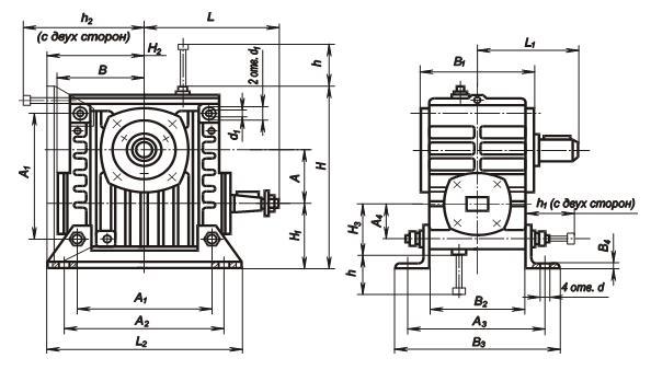 Редуктор РЧУ-80а: габаритные и присоединительные размеры