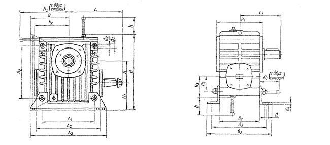 Редуктор РЧУ-125: габаритные и присоединительные размеры, веса редуктора