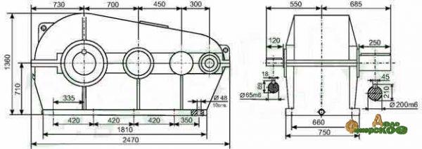 Редуктор цилиндрический трехступенчатый горизонтальный РЦТ-1450 - 8-965-710-77-77 - Андрей