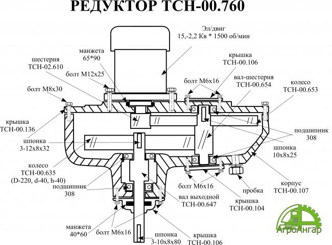 Редуктор наклонного транспортера ТСН-00.760